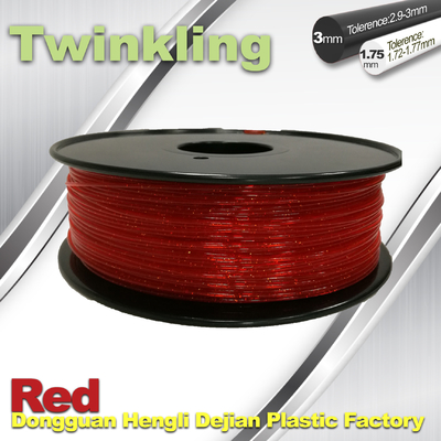 ประเทศจีน Flexible 3D Printer Filament Twinkling 3mm 1.75mm Red Filament 1.3Kg / Roll ผู้ผลิต