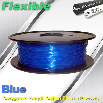 ประเทศจีน High Soft TPU Rubber 3D Printer Filament 1.75mm / 3.0Mm In Blue ผู้ผลิต